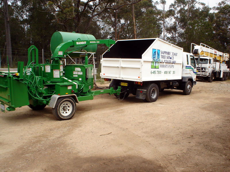 wood chipper and Tipper truck